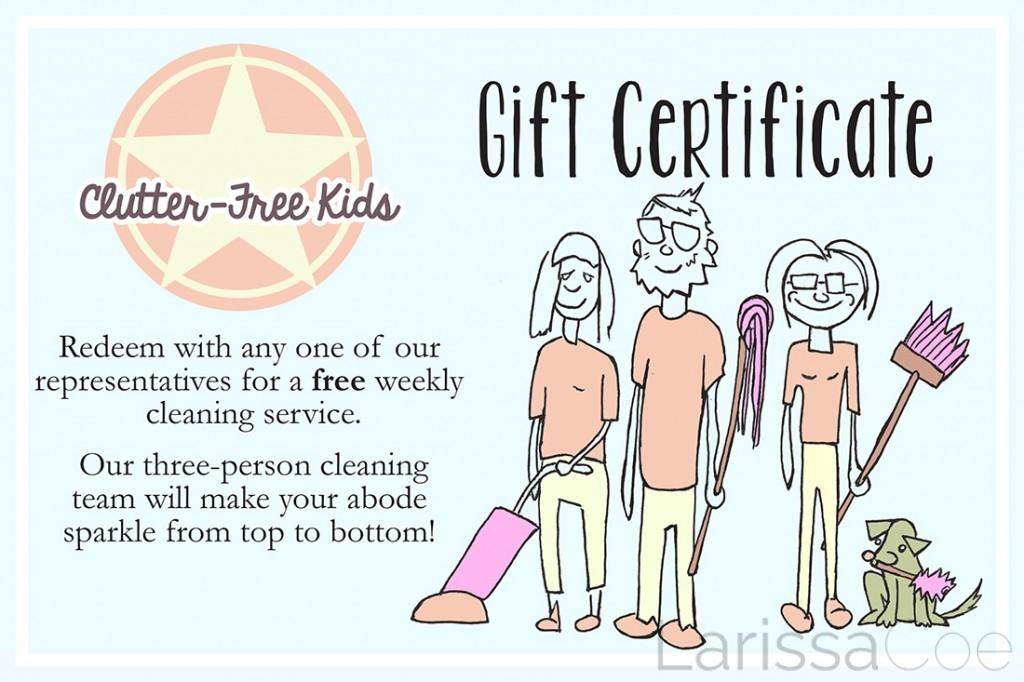"""Clutter-Free Kids """"coupon"""" – illustration by Tony LaMothe"""